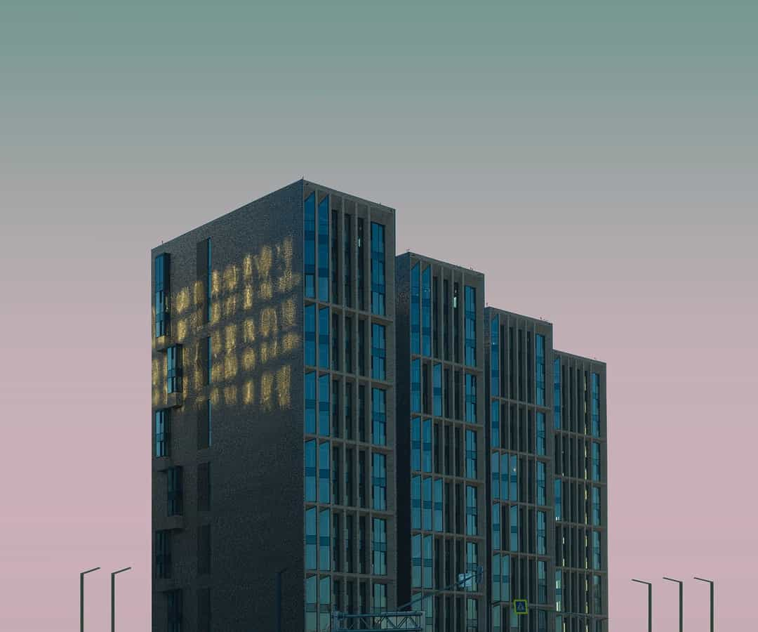 A tall building in a city